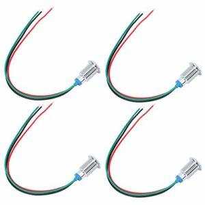 Changor LED rondes pré-câblées, électrode de de cathode commune avec laiton chromé 110-220 V 10 mm.