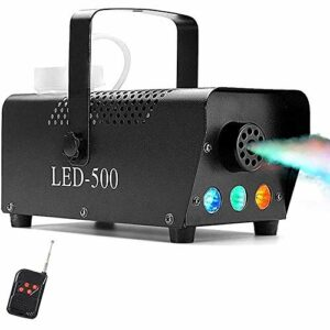 CHENJIA Machine à Brouillard avec des lumières LED en Rouge, Bleu, Vert, Softeen Portable 3 Couleurs 500W Machine de fumée avec télécommande sans Fil for la fête de Noël Halloween DJ Effet d'étape