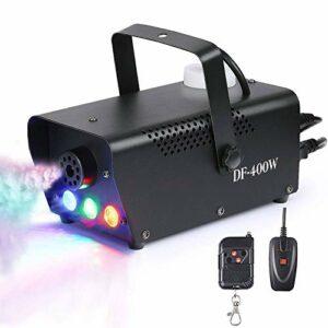 CHENJIA Machine à Brouillard, câblée 400W câblée et sans Fil Portable Halloween et la Machine à Brouillard de fête avec lumières LED Multicolores intégrées for des Vacances, Mariages