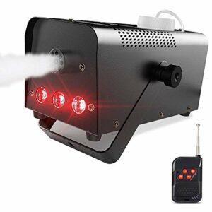 CHENJIA Machine à Brouillard, Machine à fumée Portable avec Lampes à LED équipées de télécommande sans Fil adaptée à la Maison, à la fête, à Noël, à Halloween et aux Mariages
