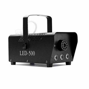 CHENJIA Machine à fumée avec lumières, machine à brouillards de 500W avec 2 télécommandes sans fil, machine à brouillard avec effet de lumière LED coloré for les fêtes de vacances Noël Noël de mariage