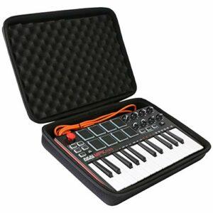 co2CREA Étui rigide de voyage pour contrôleur de clavier AKAI Professional MPK Mini MK3 25 touches USB MIDI (étui noir uniquement)