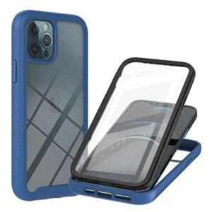 Coque pour iPhone 12 Pro Max, Transparente 360 Degrés Protection Étui Silicone Bumper Cover avec Protecteur d'écran Intégré Robuste Antichoc Dual Housse pour iPhone 12 Pro Max, Bleu