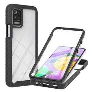 Coque pour LG K52, Transparente 360 Degrés Protection Étui Silicone Bumper Cover avec Protecteur d'écran Intégré Robuste Antichoc Dual Housse pour LG K52, Noir
