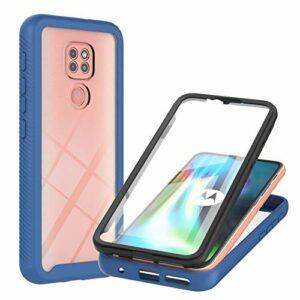 Coque pour Moto G9 Play/Moto E7 Plus, Transparente 360 Degrés Protection Étui Silicone Bumper Cover avec Protecteur d'écran Intégré Robuste Antichoc Housse pour Moto G9 Play/Moto E7 Plus, Bleu