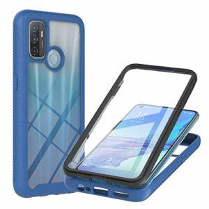 Coque pour Oppo A53, Transparente 360 Degrés Protection Étui Silicone Bumper Cover avec Protecteur d'écran Intégré Robuste Antichoc Dual Housse pour Oppo A53, Bleu