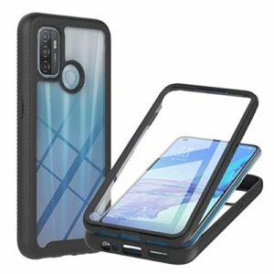 Coque pour Oppo A53, Transparente 360 Degrés Protection Étui Silicone Bumper Cover avec Protecteur d'écran Intégré Robuste Antichoc Dual Housse pour Oppo A53, Noir