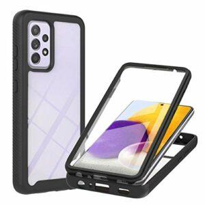 Coque pour Samsung Galaxy A72, Transparente 360 Degrés Protection Étui Silicone Bumper Cover avec Protecteur d'écran Intégré Robuste Antichoc Dual Housse pour Samsung Galaxy A72, Noir
