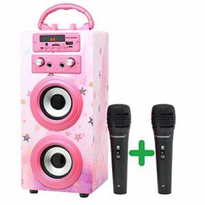DYNASONIC – (3e génération) Haut-Parleur Bluetooth Portable avec Mode Karaoké et Microphones Inclus | Lecteur USB et SD, Radio FM, Modèle 025 (Rose Vif)