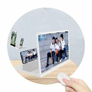 Écran De Projecteur De Smartphone De Loupe D'écran De Téléphone Portable 6D HD Avec Télécommande Bluetooth Support De Téléphone Pliable Support De Commutation D'écran Horizon(Color:blanc,Size:14 inch)