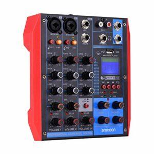 Fariy Console De Mixage Usb,AG-4 Console de mixage portable à 4 canaux Table de mixage audio numérique + alimentation fantôme 48 V prend en recharge la connexion BT/USB / MP3