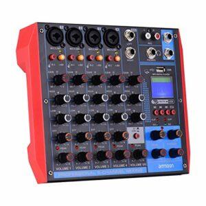 Fariy Console De Mixage Usb,AG-6 Console de mixage portable à 6 canaux Table de mixage audio numérique + alimentation fantôme 48 V prend en recharge la connexion BT/USB / MP3