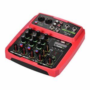 Fariy Console De Mixage Usb,B4 Console de mixage Audio Portable 4 canaux Console de mixage USB prend en recharge la connexion BT avec carte son alimentation fantôme 48 V intégrée