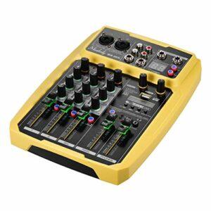 Fariy Console De Mixage Usb,B4-MX Console de mixage de carte son portable 4 canaux Console de mixage Audio Mixer 16 DSP intégré Alimentation fantôme 48 V Prise en recharge de la connexion BT