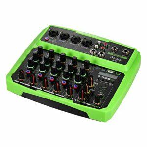 Fariy Console De Mixage Usb,B6 Console de mixage Audio Portable 6 canaux Console de mixage USB prend en recharge la connexion BT avec carte son alimentation fantôme 48 V intégrée