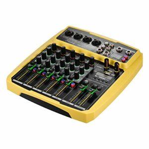 Fariy Console De Mixage Usb,B6-MX Console de mixage de carte son portable à 6 canaux Mélangeur audio 16 DSP 48 V intégré Alimentation fantôme Prise en recharge de la connexion BT
