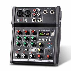 Fariy Console De Mixage,Console de mixage USB portable à 4 canaux Le mixeur audio numérique prend en recharge la connexion BT pour le DJ de diffusion en direct sur le réseau d'enregistrement de Studio
