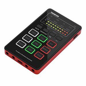 Fariy Mini Mixeur Audio,Mini carte son MX1 Changeur de voix Carte de mixage audio portable Connexion BT Interface de type C avec plusieurs effets sonores Batterie rechargeable intégrée