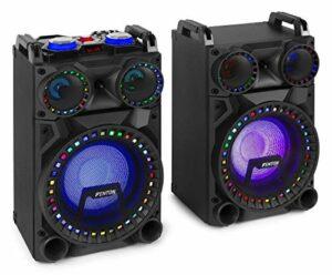 Fenton VS10 – Paire d'enceintes Actives, Taille 10″, Technologie sans Fil Bluetooth, LEDs en façade, Puissance 800 Watts, Port USB/SD, 2 x entrées pour Microphone, Réglage du Son Grave et aigu