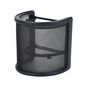 Filtre anti-pop de microphone noir masque de pare-brise en forme de U maille en plastique et en métal et double couche de mousse couvre-micro pour Studio