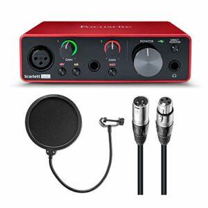 Focusrite Scarlett Solo Interface audio USB (3e génération) avec filtre pop et câble XLR-XLR