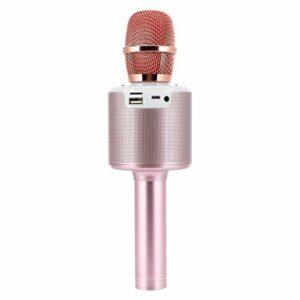 Goshyda Microphone, Haut-Parleur sans Fil Bluetooth 2 en 1 Microphone à Main avec Lumière LED pour Karaoké à Domicile en Direct(Rose)
