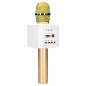 Goshyda Microphone sans Fil, Tube Vocal D'enregistrement Sonore de Karaoké, Micro de Poche Stéréo Bluetooth HiFi avec Câble Audio de 3,5 Mm pour Téléphone Portable National K Song APP(Champagne Or)