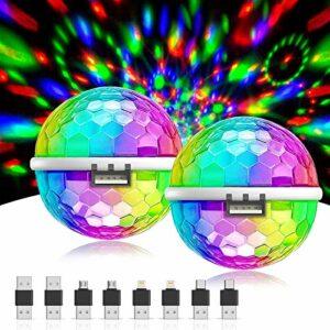 Gvoo Mini boule disco USB avec 4 adaptateurs pour téléphones portables, voitures et autres appareils USB (pour tous les téléphones portables)