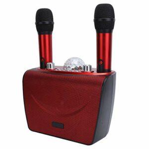 Haut-parleur Bluetooth Machine de karaoké portable Double connexion de microphone professionnelle pour téléphone(Red S201-Double wheat)