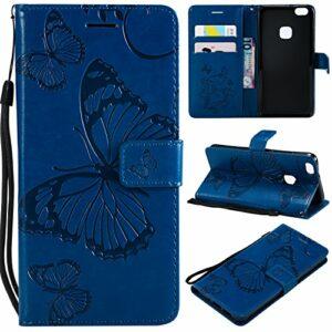 Jeewi Coque pour [Huawei P10 Lite] Protection Housse en Cuir PU Pochette,[Emplacements Cartes][Fonction Support][Fermeture magnétique] pour Huawei P10Lite – JEKT041139 Bleu