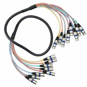 Ligne de signal audio, XLR 8 canaux, avec couvercle de protection transparent Ligne de signal audio multicanal, pour microphones 4,9 pieds audio et vidéo HIFI faciles à(blue, 1.5 fans)