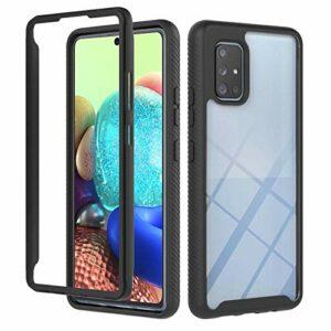 Lijc Compatible avec Coque Samsung Galaxy A71 5G 360 ° Full Body Slim Armor Case Hybrid Flexible Soft TPU Silicone et Hard PC Housse Antichoc-Noir