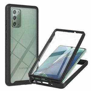 Lijc Compatible avec Coque Samsung Galaxy Note 20 Case avec Intégré Protecteur d'écran Pet Full Body Slim Armor 360 ° Hybrid Flexible Soft TPU Silicone et Hard PC Housse Antichoc-Noir