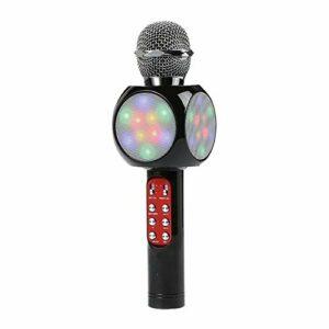 LIUCHEN Microphone DivertissementAccueil Karaoké Microphone à condensateur Haut-Parleur LED coloré Bluetooth sans Fil Bluetooth, Noir