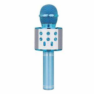 LIUCHEN Microphone DivertissementMicrophone de Chant de Musique de fête de karaoké sans Fil Bluetooth Tenu dans la Main, Bleu