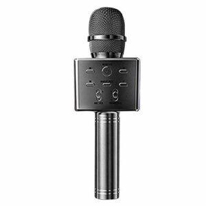 LIUCHEN Microphone DivertissementMicrophone karaoké Bluetooth sans Fil enAlliage d'aluminium Multifonction Portable 3 Haut-parleurs Plus bruyants Audio téléphone Portable Chantant, Gris