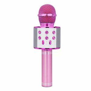 LIUCHEN Microphone DivertissementMicrophone Portable sans Fil Bluetooth Chantant Microphone de Poche Smartpnone Haut-Parleur Micro pour la fête en Plein air à la Maison KTV, A,