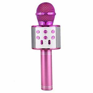 LIUCHEN Microphone DivertissementMicrophone Professionnel sans Fil Bluetooth Haut-Parleur karaoké Lecteur de Musique KTV enregistreur de Chant Microphone à Main, 1800 mah Violet,