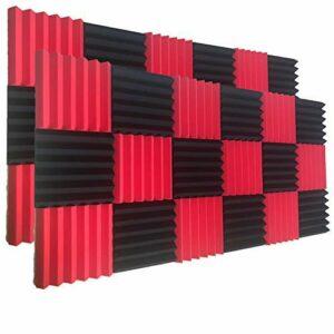 Lot de 24 dalles acoustiques en mousse pour isolation acoustique Rouge/noir 5,1 x 30,5 x 30,5 cm