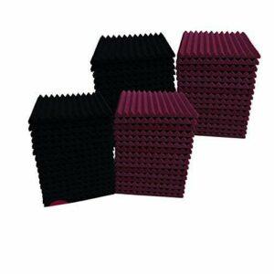Lot de 48 dalles acoustiques en mousse pour studio d'isolation acoustique Noir/bordeaux 30,5 x 30,5 x 2,5 cm