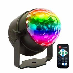 Lumières disco de 3 W RVB avec changement de couleur active, éclairage rotatif pour voiture, avec télécommande pour enfants Birthday Friends Gathering Christmas or Night Lights, décoration Bedroom