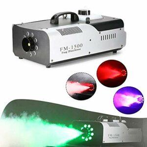 Machine de brouillard 1500 W 9 x 3 W avec télécommande sans fil et LED colorée – Convient pour Halloween, Noël, etc.