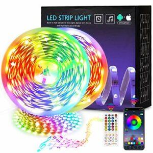 Martiount Ruban LED 30m 5050 LED RGB Led Ruban Multicolore Bluetooth Contrôlé par APP & Télécommande Music Sync Lumières LED Bande de Chambre, Cuisine, Maison, Fête Décor