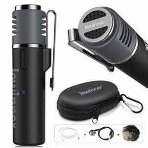 Microphone Lavalier sans Fil Lewinner, Micro à Pince Bluetooth pour iPhone Android iPad, vidéo Vlogger Blogger Content Creator Interviewer Conférence – Réduction du Bruit/Transcription Automatique