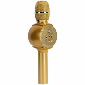 Microphone sans Fil Bluetooth, Téléphone Portable sans Fil Bluetooth Audio Karaoké Portable Haut-parleur Micro Portable avec Lumières LED(Or du tyran)