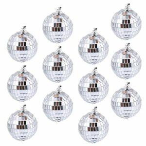 MILISTEN 12Pcs Verre Boule à Facettes Disco Brillant Miroir Réfléchissant Boules Disco Fête Décorations Suspendues 5Cm
