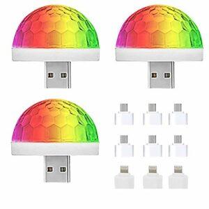 NEPAK 3 Pack Boule Disco,USB Boule Disco LED,Boule Disco de Commande Vocale,Scène MINI LED Commande Sonore Lumière Disco Light Effet DJ Ball Cristal Déco Soirée Fête Anniversaire Mariage KTV Lot de 3