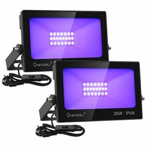 Onforu Lot de 2 Projecteur LED Lumière Noire 20W, Lampe UV IP66 Imperméable, Eclairage à Effet Ultra-violet pour Aquarium, Soirée, Peinture Fluo, affiche fluorescente, Néon, Bar, Fête