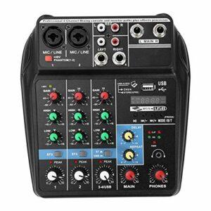 Oreilet Mélangeur de scène, mélangeur Audio, DJ 100~240V pour la Diffusion Web de la Production de Musique à Domicile(EU Plug)