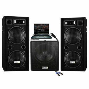 Pack sono dj 2800w cube 1512 avec caisson amplifié de 800w + 2 enceintes 1000w max + câbles hp et câble PC